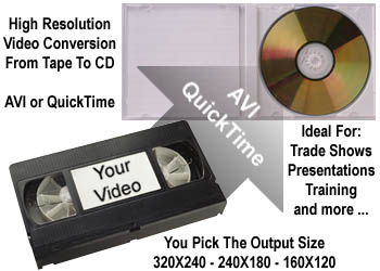 High Resolution Video Conversion From Your Tape To CD - AVI or QuickTime